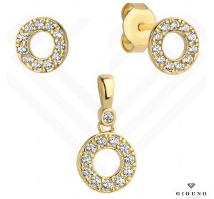 Kolczyki złote 585 na sztyft kółeczka z zawieszką