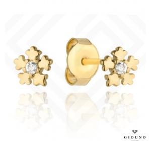 Złote malutkie kolczyki na sztyft 585 kwiatuszki z cyrkonią