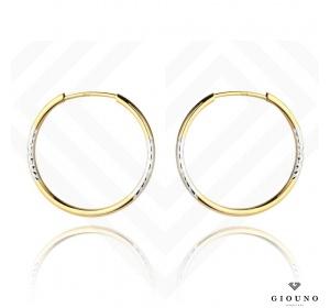 Kolczyki koła złote 585 białe i żółte złoto diamentowane 2,4 cm