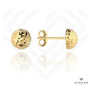 Kolczyki złote 585 na sztyft pół kulki diamentowane