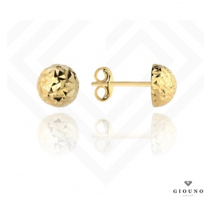 Kolczyki złote 585 na sztyft pół kuleczki diamentowane