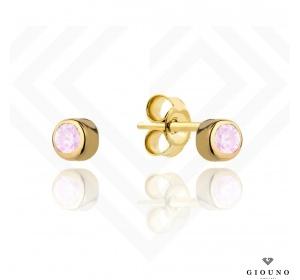 Złote małe kolczyki 585 różowa cyrkonia na sztyft