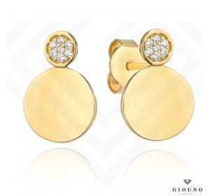 Złote kolczyki 585 na sztyft dwa kółeczka