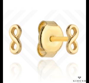 Złote małe kolczyki 585 na sztyft znak nieskończoności
