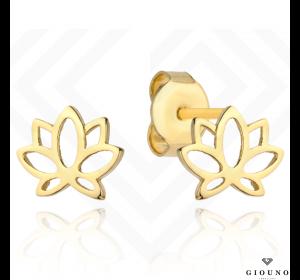 Złote małe kolczyki na sztyft 585 kwiat lotosu