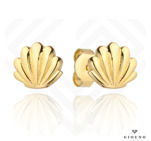 Złote kolczyki na sztyft 585 złote muszelki