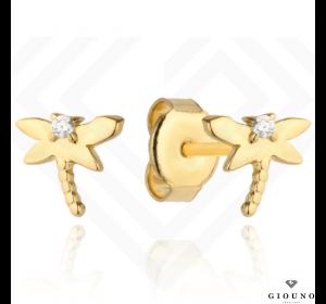 Złote malutkie kolczyki 585 na sztyft ważka