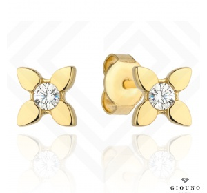 Złote kolczyki 585 na sztyft małe kwiatuszki