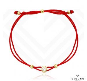 Bransoletka złota 585 na czerwonym sznurku