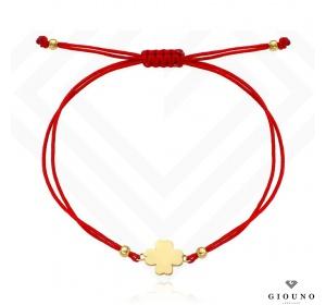Bransoletka na czerwonym sznurku złota 585 koniczynka