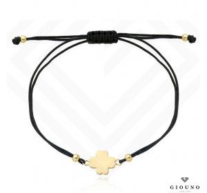 Bransoletka na czarnym sznurku złota 585 koniczynka