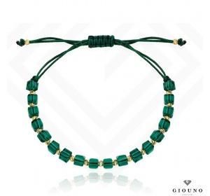 Złota bransoletka 585 na zielonym sznurku ZŁOTE KULKI