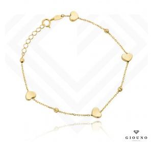 Bransoletka złota 585 serduszka i złote kulki