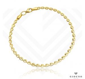 Złota bransoletka 585 splot z małych serduszek