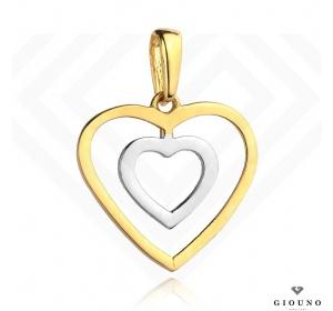 Zawieszka serce 585 białe i żółte złoto