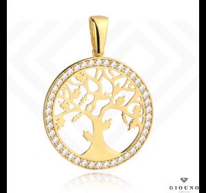 Złota okrągła zawieszka 585 drzewo szczęścia