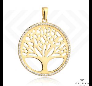 Złota duża zawieszka 585 z drzewem szczęścia