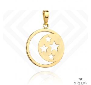 Złota okrągła zawieszka 585 gwiazdki księżyc