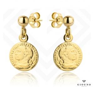 Kolczyki złote 585 na sztyft złote monety