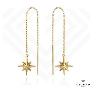 Kolczyki złote 585 przewlekane wiszące gwiazdki