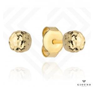 Kolczyki złote 585 kulki na sztyft diamentowane