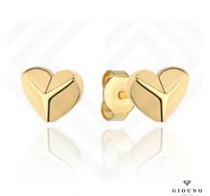 Kolczyki złote serduszka 585 na sztyft 3D