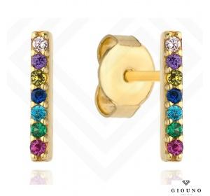 Kolczyki złote 585 na sztyft kolorowe cyrkonie