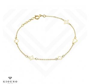 Złota bransoletka 585 na łańcuszku z serduszkiem