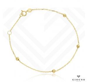Złota bransoletka 585 złote kulki na łańcuszku