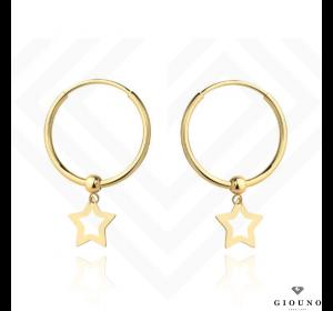 Kolczyki złote 585 koła z wiszącą gwiazdką