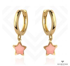 Kolczyki złote kółeczka 585 z różową gwiazdką