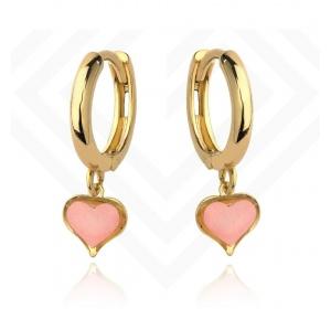 Kolczyki złote 585 kółeczka z zawieszką serce