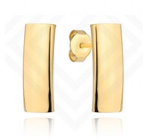 Kolczyki złote 585 na sztyft gładki prostokąt