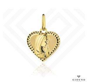 Medalik złoty 585 Matka Boska w serduszku