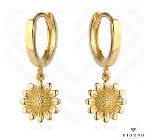 Złote kolczyki koła 585 z wiszącym kwiatkiem