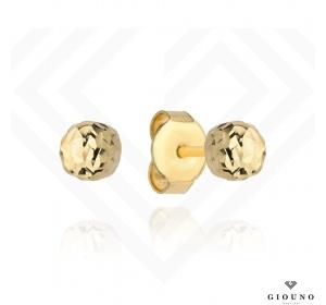 Kolczyki złote kuleczki 585 na sztyft diamentowane