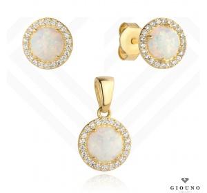 Złote kolczyki 585 z zawieszka komplet opal