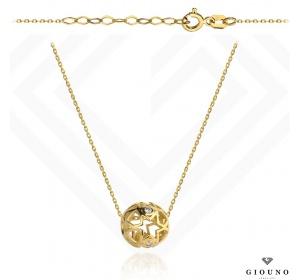 Złoty naszyjnik 585 z ażurową kulką celebrytka