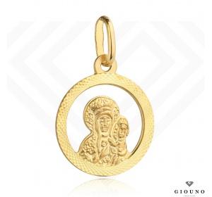 Medalik złoty 585 Matka Boska okrągły diamentowany