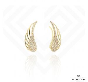 Kolczyki złote 585 nausznice skrzydła z cyrkoniami