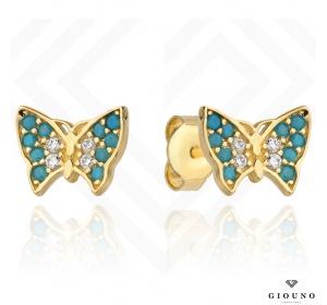 Kolczyki złote 585 motylki kolorowe cyrkonie