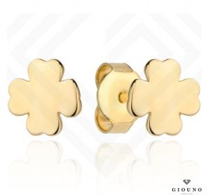 Kolczyki złote 585 koniczynka gładka na sztyft