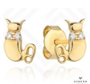Złote kolczyki 585 kotki na sztyft