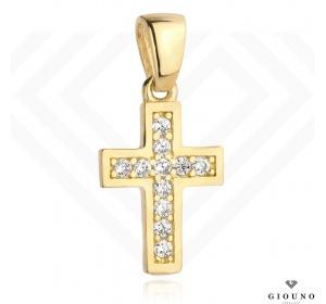 Złoty krzyżyk 585 z cyrkoniami zawieszka