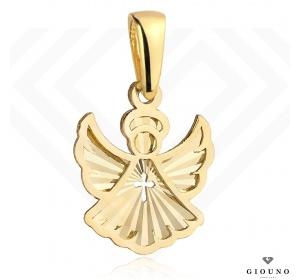 Złota zawieszka 585 aniołek z krzyżykiem