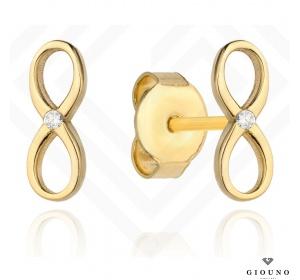 Złote kolczyki 585 na sztyft znak nieskończoności