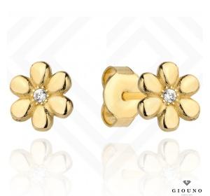 Kolczyki złote 585 kwiatuszki na sztyft z cyrkonią