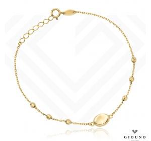 Złota bransoletka 585 z kulkami na łańcuszku