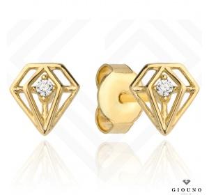 Kolczyki złote 585 na sztyft diamenciki z cyrkonią