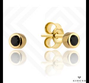 Złote kolczyki 585 na sztyft małe czarna cyrkonia